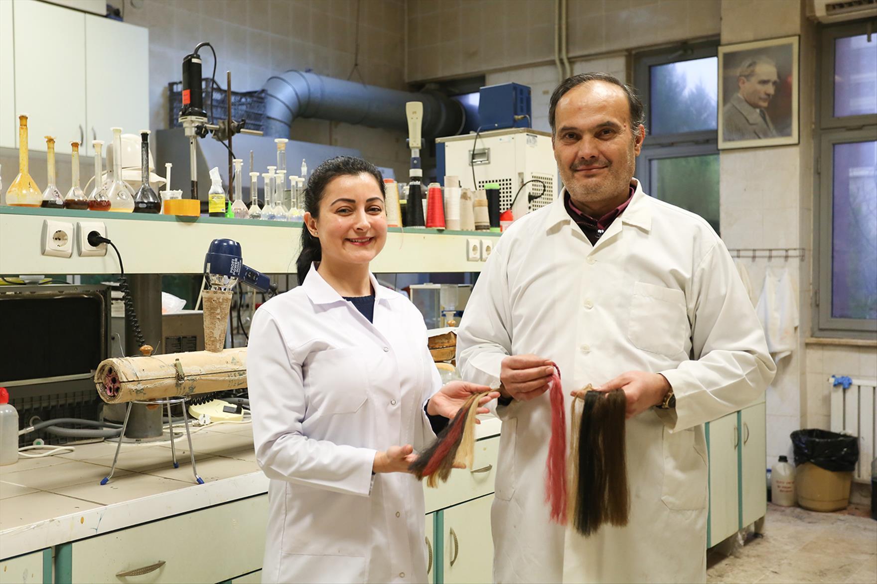 PAÜ Kimya Bölümünün Çalışmalarını Sürdürdüğü Gerçek Saç ile Kaplı Sentetik Saçlar Gerçeğini Aratmıyor